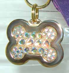 jeweled bone dog tags
