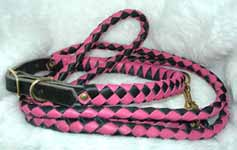 braided leather tough dog collars