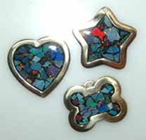 opal inlay pet id tags charms jewelry