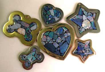 opal inlaid stone id tags